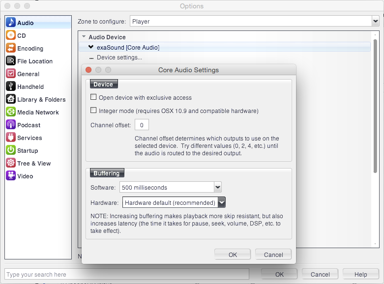 Configuring JRiver Media Center for Mac OS X for use with exaSound